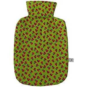 Wärmflaschenbezug Herzblumen in frühlingsgrün für 2 l Wärmflasche