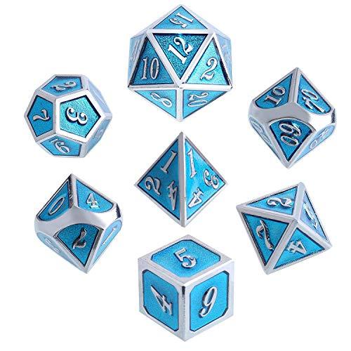 Outee Zinklegierung Metall Würfel Set, 7 Stück Durable Polyhedral Würfel Tiffany Blau mit Silber Nummer D4 D6 D8 D10 D12 D20 für Dungeons und Dragons DND RPG MTG Tischspiele mit Metallgehäuse.