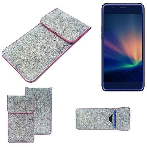 K-S-Trade® Filz Schutz Hülle Für -Hisense A2 Pro- Schutzhülle Filztasche Pouch Tasche Case Sleeve Handyhülle Filzhülle Hellgrau Pinker Rand