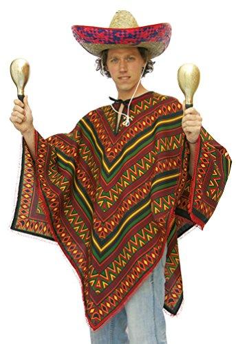 ,Karneval Klamotten' Kostüm Poncho Mexiko Herr Kostüm Karneval Mexikaner Herrenkostüm Einheitsgröße