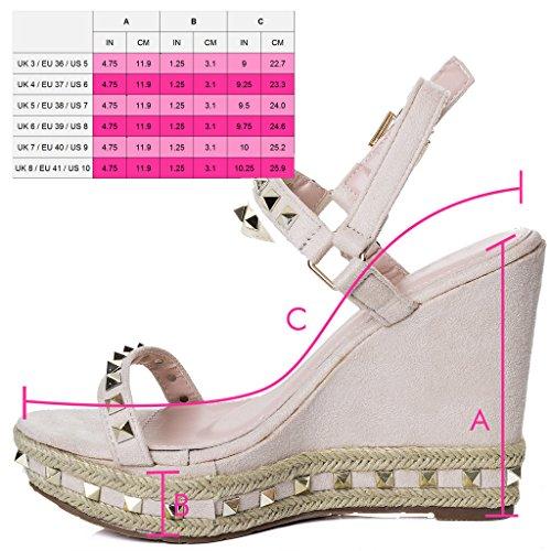 Spylovebuy Sandálias Sapatos Sintético Creme Salto Milionárias Senhoras Cunha Planalto De Bombas FIwYTqx5x