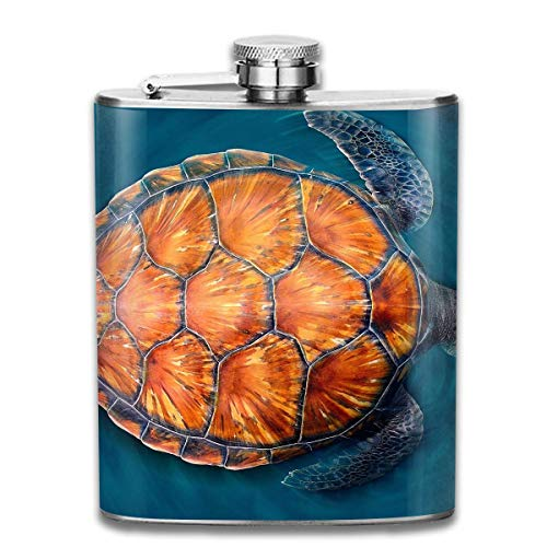 Sea Turtle Orange Back Wine Water Hip Flask for Liquor Stainless Steel Bottle Alcohol 7oz