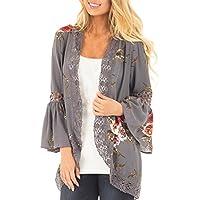 kimono verano abierto mujer Sannysis cardigans mujer mujer en malla kimono mujer larga elegante chaquetas de mujer abierto flores (gris, XL)
