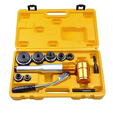 ReaseJoy 6 Dies 6 Ton Hydraulic Knockout Punch Driver Tool Kit Hand Pump Hole Tool 11-Gauge Metal Case