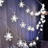 KEEDA Schneeflocke LED Lichterkette, 10M/33ft 100er Garten Lichterkette Beleuchtung, Außenbeleuchtung/ Außen Lichterkette, Dekorative Lichter, Weihnachtsbeleuchtung , Solarleuchten, Weihnachten Dekoration, 220V (Weiß)