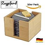 Premium Schiefer Untersetzer 10er Set rund | inkl. Kreide u. Schwamm | Naturstein Schieferplatten Glasuntersetzer | Ø 10 cm