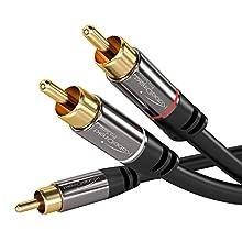 KabelDirekt 1m Cavo RCA Y, (Coassiale Audio Stereo Digitale 1 Connettore RCA Maschio su 2 Connettori RCA Maschio, collegamenti di amplificatori, ricevitori AV con subwoofer), PRO Series