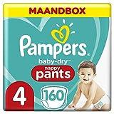 Pampers Baby-Dry Pants Maat 4 (9-15kg), 160 Luierbroekjes, Makkelijk Aan Met Luchtdoorlatende Banen Tot 12 Uur Lang Droog, Maandbox