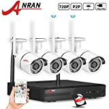 ANRAN 4ch 720P WIFI Wireless NVR System Home Surveilliance Security System with 4 Outdoor/indoor Wifi 36IR Night Vision 720P IP Cameras 1TB Hard Drive