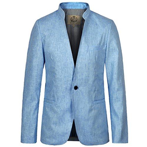 E-artist Homme Col Montant Lin Blazer Veston X05 Bleu
