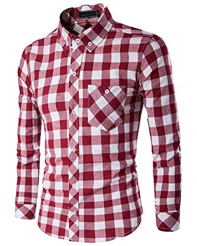 Uomo Tempo Libero Manica Lunga Classico camicia a quadri Rosso