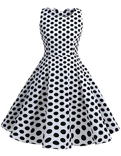 BeryLove Frauen Vintag 50s Polka Dot Bowknot Rockabilly kleid Swing Kleid BLV8001 WhiteBlackDot 3XL (Kleid Dot Jahre Polka 50er)