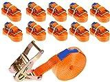 INDUSTRIE PLANET 10 Stück 2000kg 6m Spanngurte mit Ratsche orange 1 teilig einteilig Zurrgurte Ratschengurt 35mm 2000 daN 2t