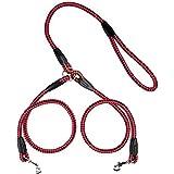 Ploopy Double Laisse pour Deux Chiens, Laisse Double pour Chien en Nylon, Nylon Durable Traction de Formation Corde Laisse pour Chien 77cm Rouge