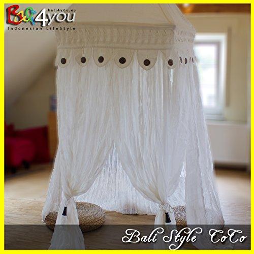 """Baldachin Moskitonetz """" Bali Style CoCo """" 80x80x200 - mit 2ter Cocos Dekoboarde - & 4er Bambus QuastenSet kostenlos Betthimmel Mückenschutz"""