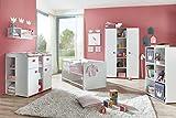 lifestyle4living Babyzimmer, Kinderzimmer, Babymöbel, Komplett-Set, Babyausstattung, Babybett, Wickelkommode, Schrank, Mädchen, weiß, pink, rosa