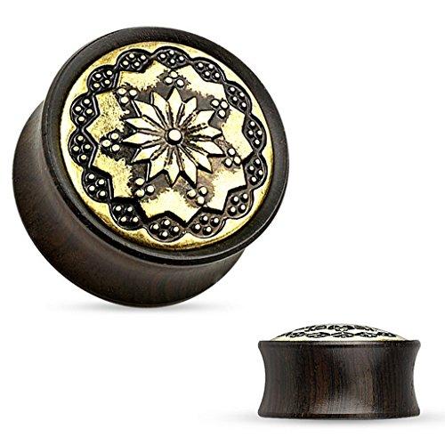 Piercing plug tribal en bois ebony Taille 19 mm