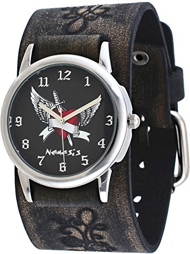 Nemesis #VFB923K Men's Arrow Thru the Heart Floral Pattern Wide Leather Cuff Band Watch
