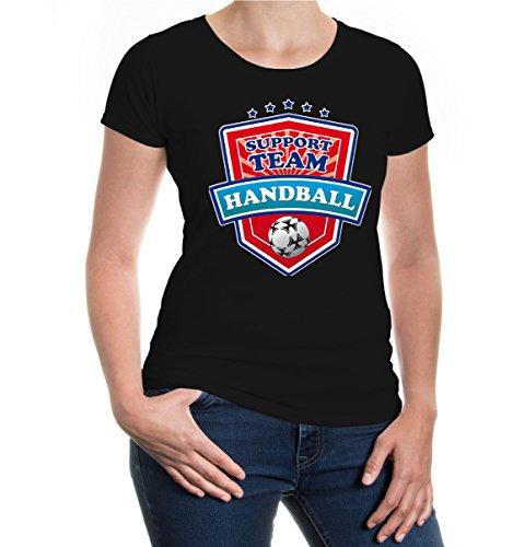 buXsbaum® Girlie T-Shirt Handball-Support Team Black-z-direct