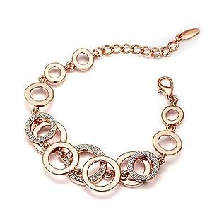 Youbella Rose Gold Plated Crystal Bracelet For Women