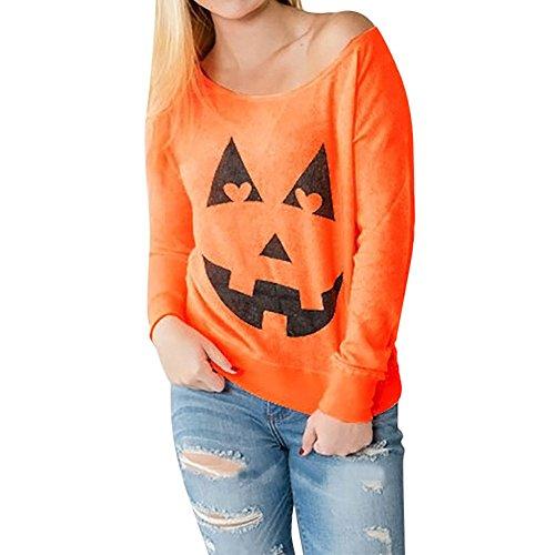 (TUDUZ Damen Halloween Kostüm Rundhals Kürbis Drucken Langarm Sweatshirt Pullover Tops Kapuzenpulli)