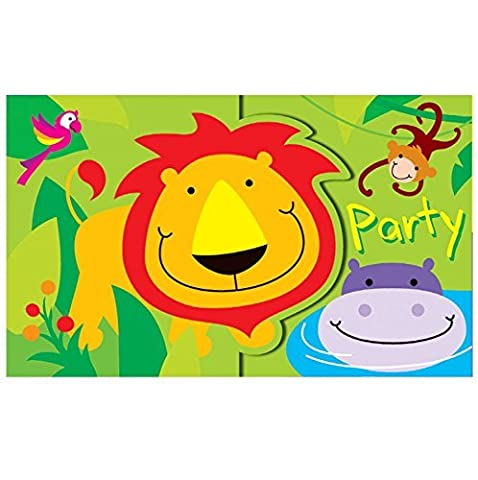 12 Boys Girls Kids Childrens Birthday Party Invitations Card with Envelopes- Jungle Theme Zoo by