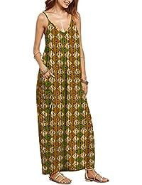 QIYUN.Z Femme V-Cou Spaghetti Sangle Sans Manches Plage Backless Sundress Longue Maxi Robe