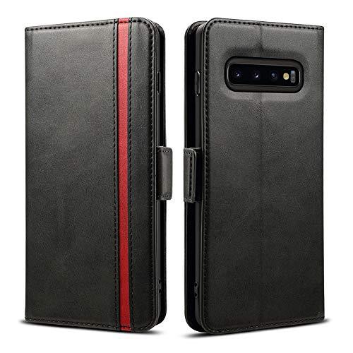 Rssviss Galaxy s10 Plus Hülle, Samsung Galaxy s10 Plus Handyhülle [3 Kartenfächer ] Tasche Leder Schutzhülle mit [Magnetverschluss ] für Samsung Galaxy s10 Plus Ledertasche,Schwarz (W5)