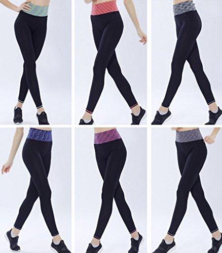 Bigood Femme Élastique Haute Taille Slim Pantalon Sport Nylon Course Yoga Legging Vert