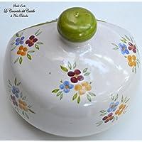 Nascondispugna Linea Tris Fiori / Bordo Verde per Cucina e Bagno Handmade Le Ceramiche del Castello 100% Made in Italy