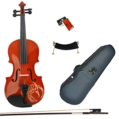 kinglos-1-4-dragon-carved-solid-wood-violin-kit-student-fiddle-for-beginners-children-kids-with-case