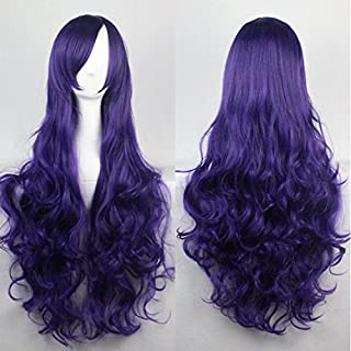 Womens Ladies Girls 80cm Purple Color Long Curly Wigs High Quality Hair Carve Cosplay Costume Anime Party Bangs Full Sexy Wigs