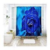 MaxAst Rose Blume Duschvorhang Anti Schimmel, Bunten Badewanne Vorhang 150x180CM, Antibakteriell Wasserdicht mit Kunststoff Ringe Kein Rost