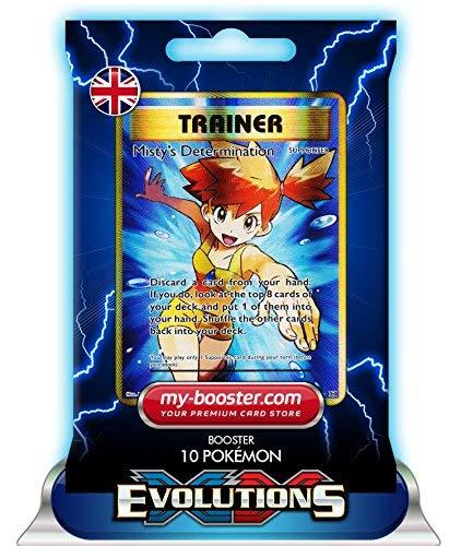 TRAINER MISTY S DETERMINATION 100/108 XY12 EVOLUTIONS - Booster mit 10 Englisch Karten Pokemon my-booster (Pokemon Misty Trainer-karte)