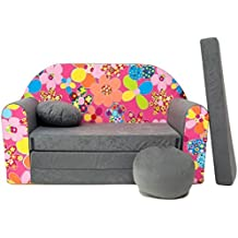 WELOX a12 KindersofaBettfunktion3in1-Kindersessel,Ausziehbett,grau/rosaBlumen, Eierschalenfarbe