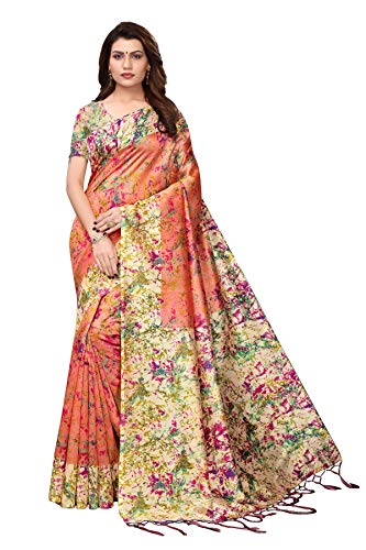 Indian Women's Art Silk Kalamkari and Bhagalpuri Style Sari with Blouse Piece Spray Peach