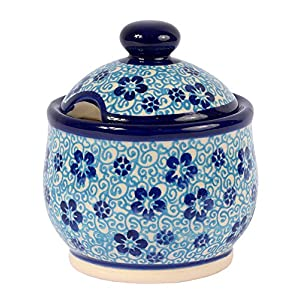 Traditional Polish Pottery, Handcrafted Ceramic Lidded Sugar Bowl with a Spoon Slot (290ml / 10 fl oz), Boleslawiec Style Pattern, C.102.FLOW