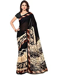 Kashvi Sarees Faux Georgette Black & Multi Color Printed Saree With Blouse Piece ( 1134_1 )