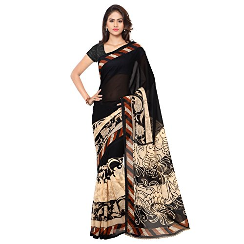 Anand Sarees Faux Georgette Black & Multi Colored Printed Saree With Blouse Piece (1134_1)  available at amazon for Rs.249