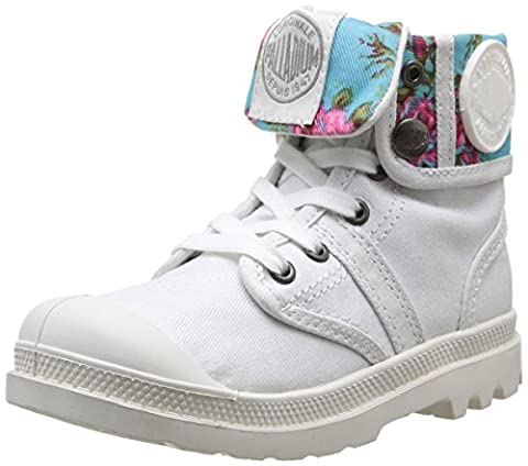 Palladium Baggy Mtl K, Boots mixte enfant - Blanc (White/Flower), 32 EU