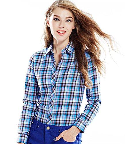 ACVIP Chemisier Femme/Fille Étudiante Carreaux Blouse Casuel Manche Longue Shirt Coton avec Boutons,17 Couleurs 9#