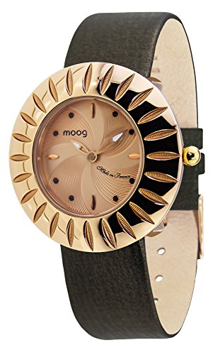 Moog Paris Petale Women's Watch with Rose Gold Dial, Black Genuine Leather Strap & Swarovski Elements - M45582-006