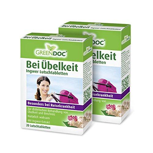 GreenDoc Bei Übelkeit Ingwer Lutschtabletten (2er Pack) - Bei Übelkeit, Brechreiz und Reisekrankheit (2x 20 Tabletten)