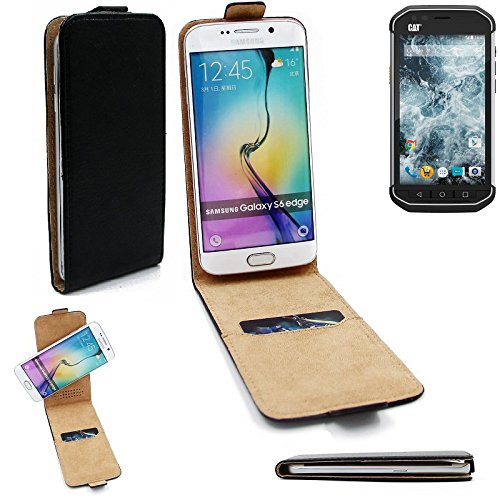 K-S-Trade Für Caterpillar Cat S40 Flipstyle Schutz Hülle 360° Smartphone Tasche, schwarz, Case Flip Cover für Caterpillar Cat S40