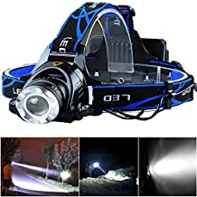 Lightess Linterna Frontal LED 3000 Lúmenes Que Alumbra Bien CREE XM-L T6 Impermeable y Adjustable Lámpara de Cabeza con Cargador Baterías