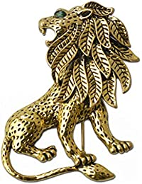 Imported Vintage Unisex Alloy Lion Brooch Pin Gold Plated for Suit Clothing