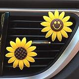 D-SYANA8 2 Unids Aire Ambientador Coche Vent Clip, Girasol Sonriente Flor Perfume Aroma De Goma Sólido Perfumado Algodón Desodorante Decoración del Coche