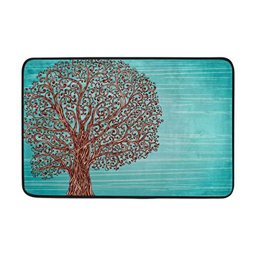 artyly Leichte Fußmatte Rutschfeste 23,6 x 15,7 Zoll alte Grafik Baum mit verdrehten Wurzeln und ÄsteIndoor Outdoor Eingang Teppiche Türmatten für Küche Badezimmer Eingang Weg -