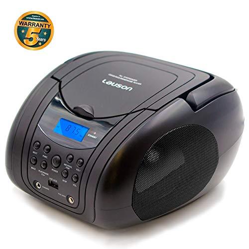 Lauson CP 441 - Lettore CD Radio FM/ MP3 / Radio CD Portatile/PLL Stereo Portatile, Lettore USB, Schermo LCD, Radio CD Stereo Portatile Picolo Per Bambini Nero