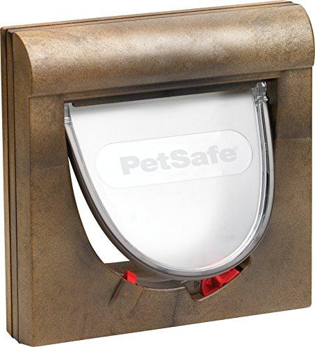 PetSafe Staywell Magnet Katzenklappe braun, 4 Wege, Teleskoprahmen, Tunnel, Halsband+Magnetanhänger, 22,30 x 22,30 cm
